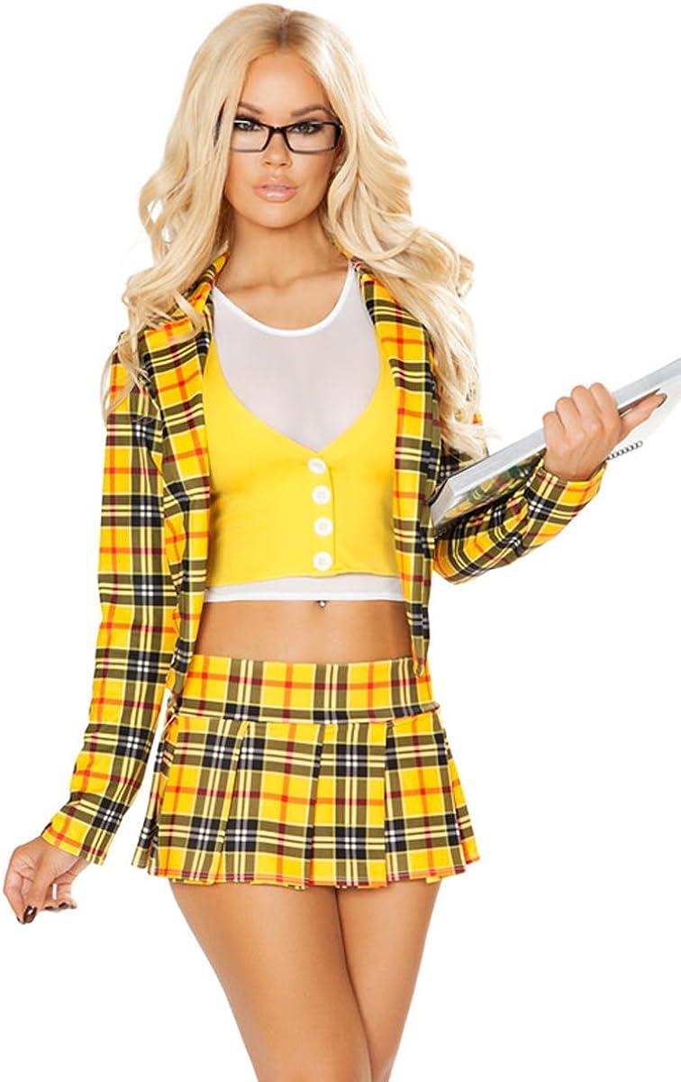 Amazon Com Sexy Clueless Schoolgirl Plaid Blazer And Skirt Halloween Costume Yellow White S M Clothing