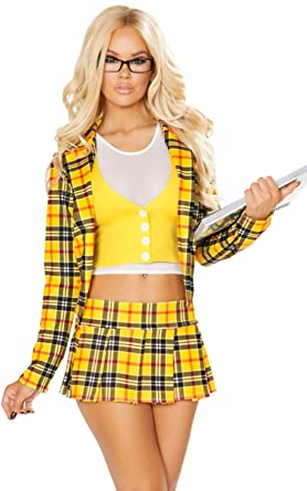 1189afb1e5 Musotica Sexy Clueless Schoolgirl Plaid Blazer and Skirt Halloween Costume  - Yellow/White - S