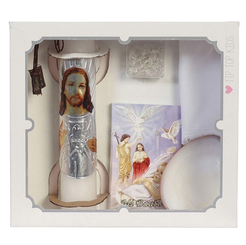 Rosary Baby Boys and Girls Baptism Candle Set for Christenings with Shell Missal Book Handkerchief #BC5171 Spanish