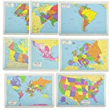 Painless Learning Educational Placemats Sets USA, World, Europe, Asia, Africa, South America, Central America, Canada Maps Set Non Slip Washable