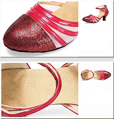 Mujeres Zapatos Latino Zapatos De Fondo Zapatos Baile Baile Salón Blando De Tacones WYMNAME Rojo Mediados Lado De Brillante De Baile Social dYPzwqZnW