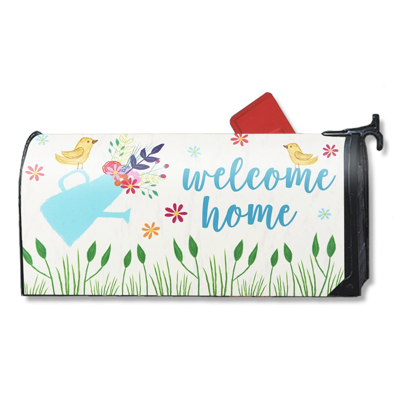 Magnetic Mailbox Cover - Spring Summer Floral Themed, Decorative Vinyl Mailbox Wrap for Standard Size, Birds and Flowers Design - Welcome Home Includes Adhesive Numbers - Multicolor, 17.25 x 20.75 Inc