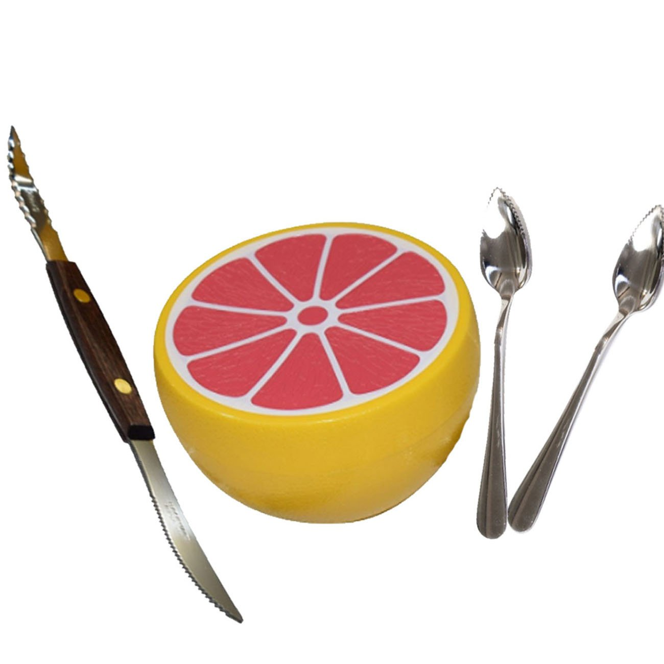 Budays Mart Squirtfree Serrated Twin-Blade Grapefruit Knife, Grapefruit spoons (2) stainless Steel, Serrated Edges and grapefruit saver