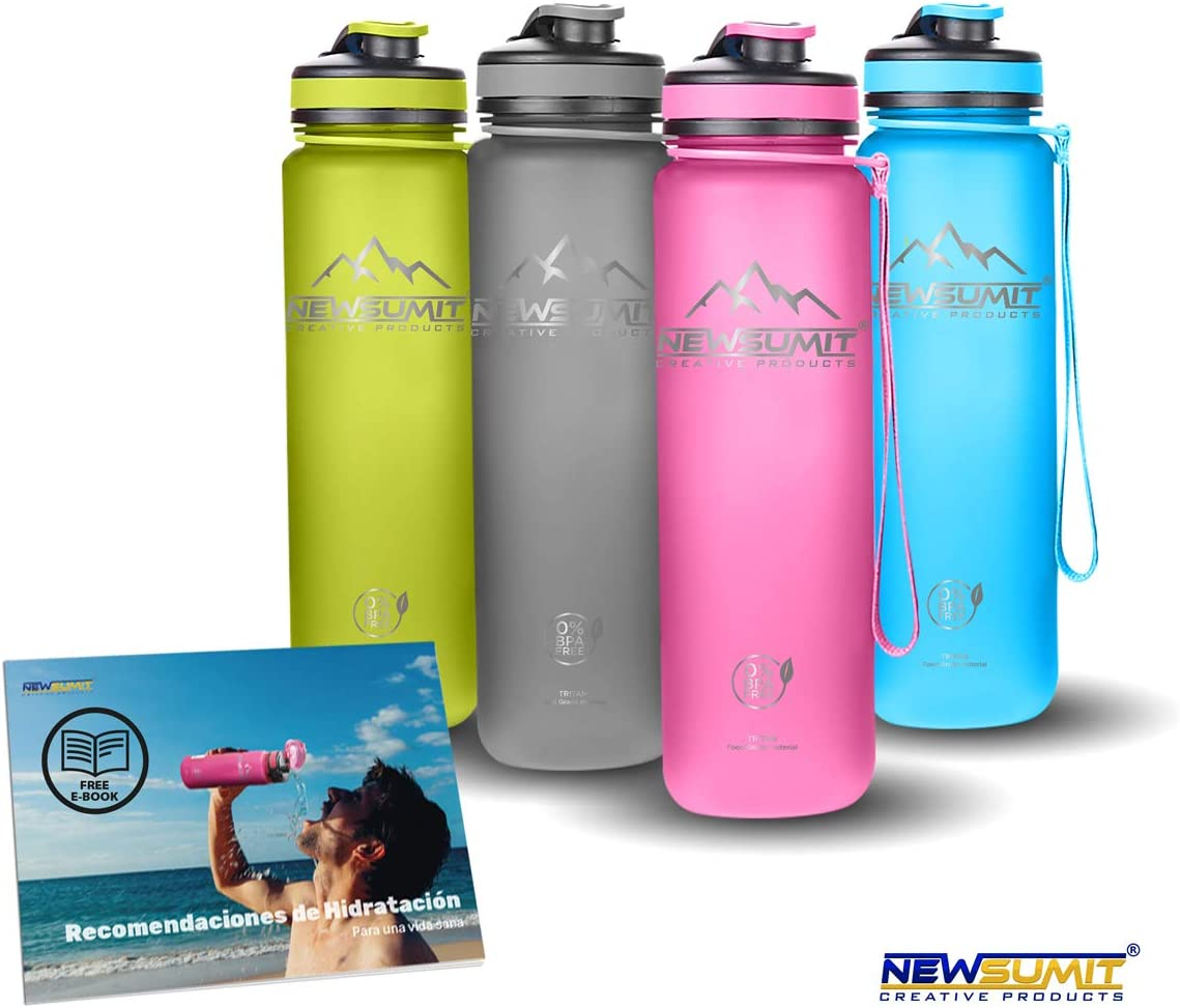 NEWSUMIT Botella De Agua Deportiva Superior Shaker - BPA Free Tritan - Todo Uso - Deporte - Gimnasio - Hogar - Oficina.
