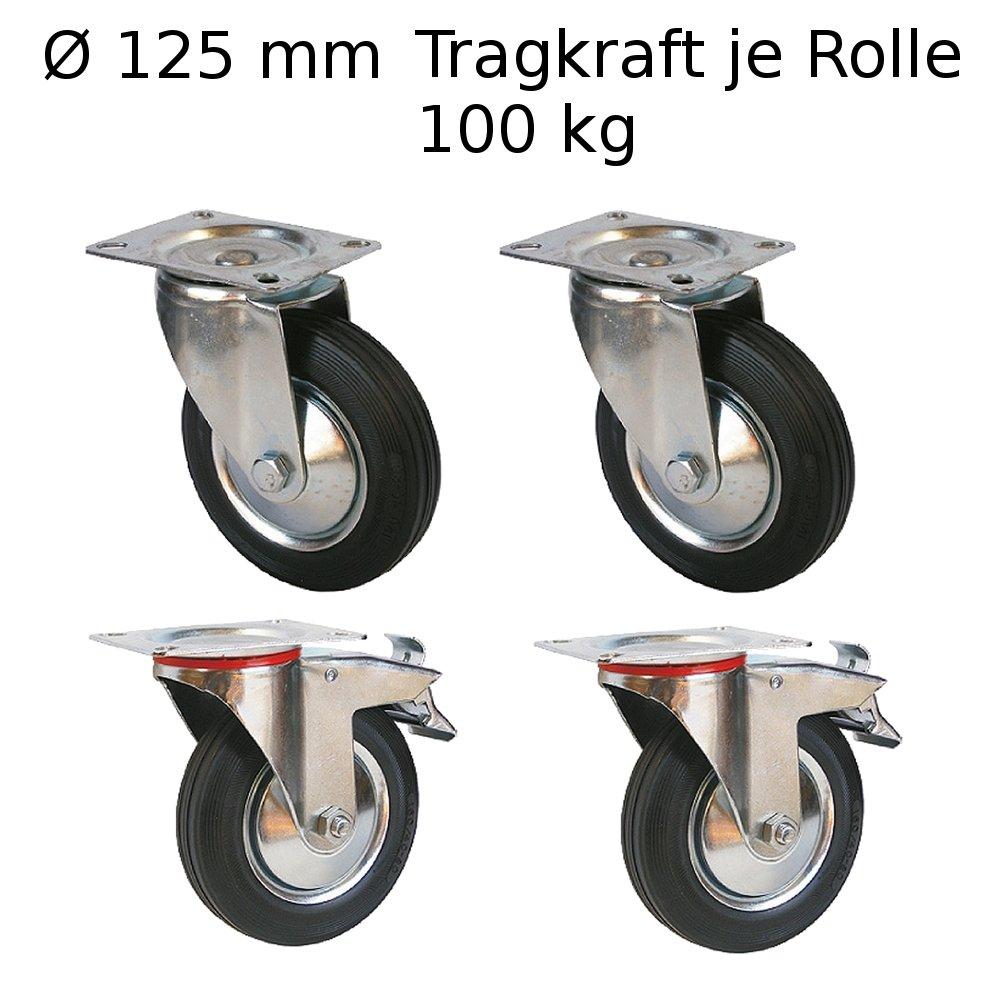 4 Stü ck Lenkrollen Transportrollen Mö belrollen 125mm Transportrolle Rollen mit Bremse Laufrollen Schwerlastrollen 100 kg