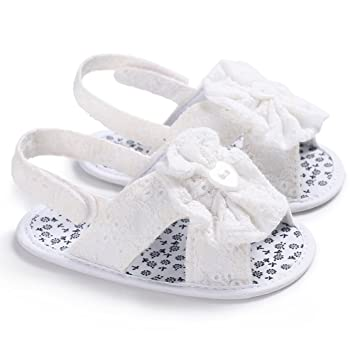 93eab69f15172 Amazon.com  ieasysexy Summer 0-1 Years Female Baby Solid Color Flower  Sandals Soft Baby Toddler Shoes (White  11)  Arts