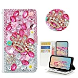 LG Optimus Zone 3/LG Rebel 4G LTE/LG K4 VS425/LG Spree Case,Yaheeda [Card Slot] [Kickstand Feature] Design Flip Leather Handmade Bling Crystal Butterfly Flower Rhinestones Diamond Wallet Case Cover
