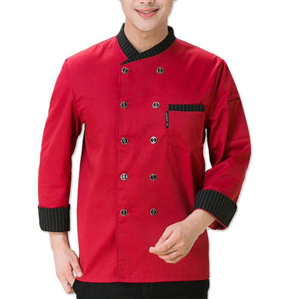 Zhhlinyuan Unisex Chefs Jacket 3 Color Comfortable Uniform Long Sleeve Button Tops