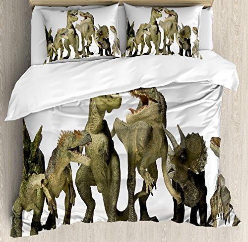 Ambesonne Kids Duvet Cover Set Queen Size, Dinosaurs T-Rex Jurassic 3D Dino Fossil Art Design History, Decorative 3 Piece Bedding Set with 2 Pillow Shams