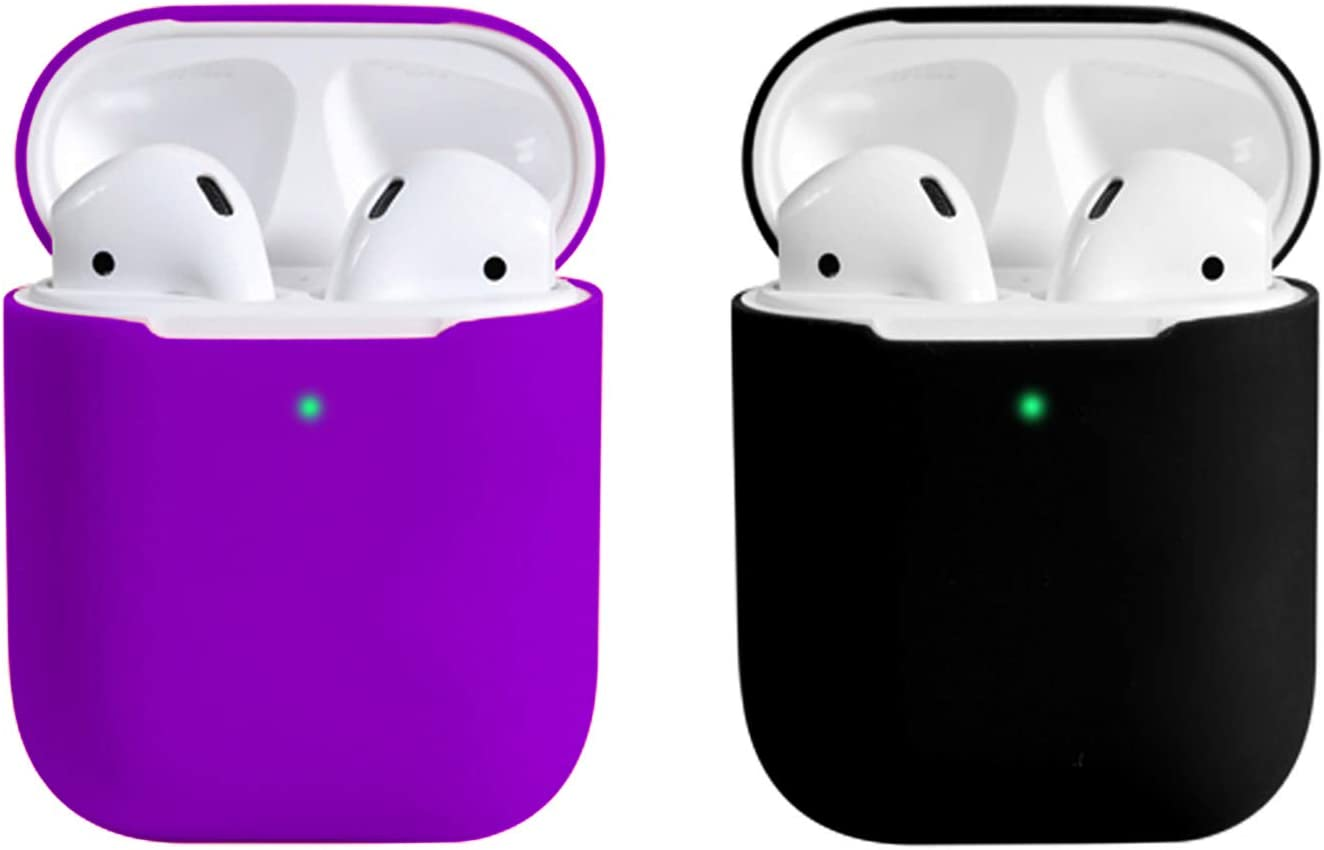 Coffea AirPods Case, 0.8mm Ultra Thin Soft Cover Skin Silicone Case for Apple AirPods 2 & 1 [Front LED Visible] (Purple+Black)