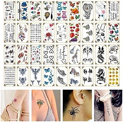 Oottati 36 Hojas Pequeño Lindo Tatuaje Temporal 3D Arce Elefante ...