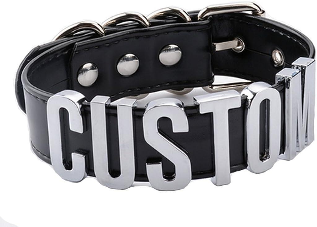 AccessCube Customized Choker Collar Necklace PU Leather Custom Personalized Name Choker Custom Name Necklace Women