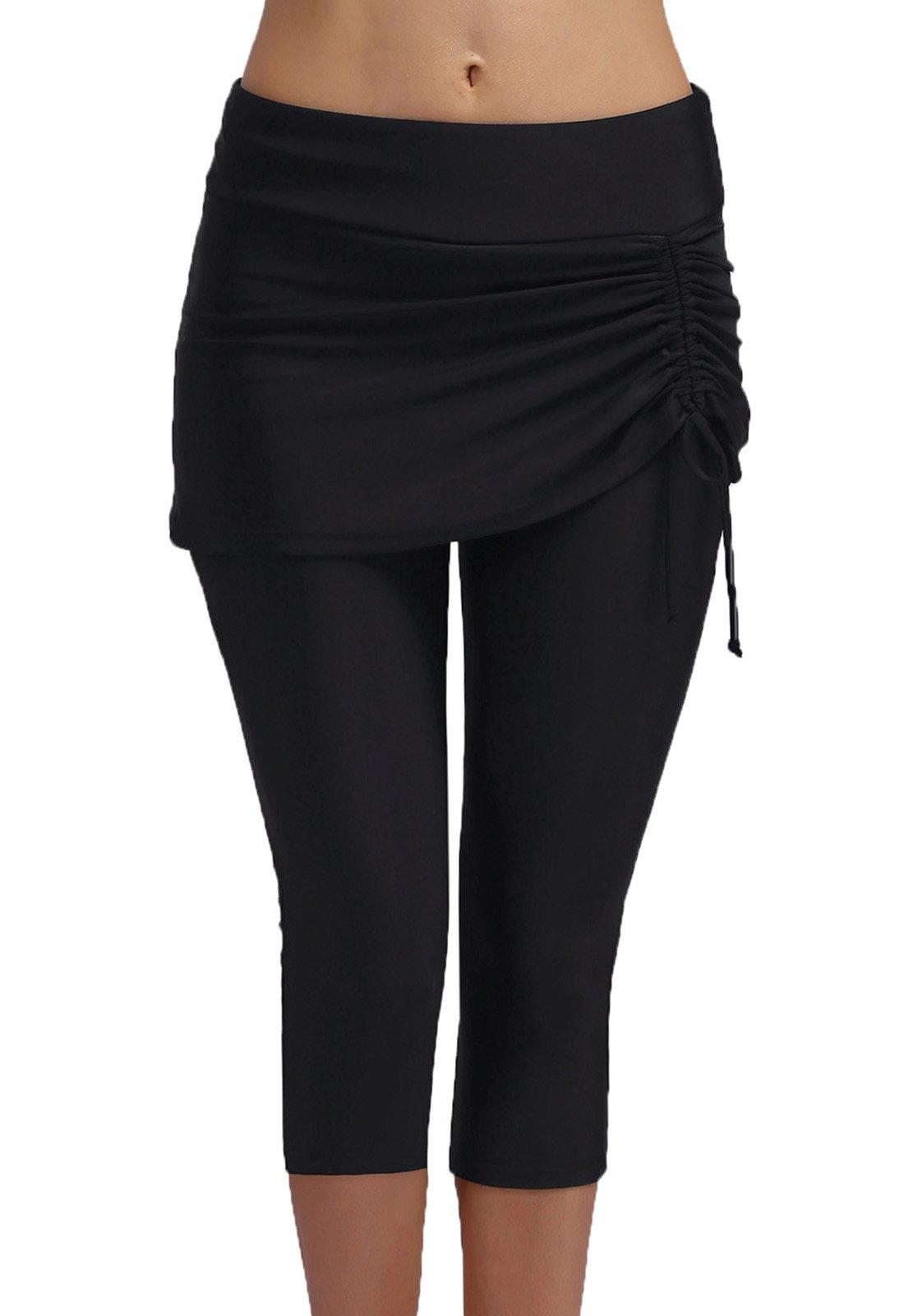 FanShou Women Capris Swim Pants Tights Sport Swimming Surfing Leggings Sun Protection (X-Large, Black)