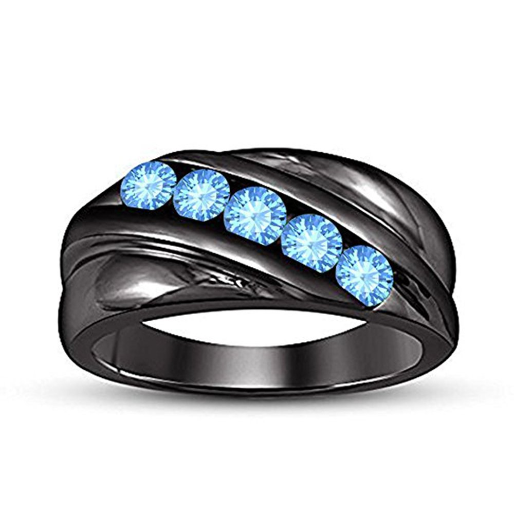 Silverraj Jewels Fathers Day Collection-Mens Blue Simulated Diamond 14K Black Gold Fn Ring For Lovely DAD,Father