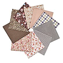 RayLineDo® 10pcs 8 x 8 inches (20cmx20cm) Print Cotton Coffee Series Fabric Bundle Squares Patchwork DIY Sewing Scrapbooking Quilting Pattern Artcraft