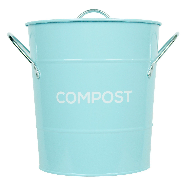 Light Blue Metal Kitchen Compost Caddy - Composting Bin for Food ...