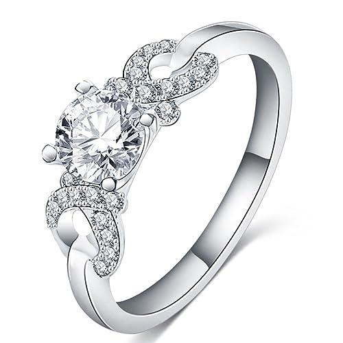 fendina para mujer joyería brillante 18 K chapado en oro blanco infinity love solitario Cubic Zirconia