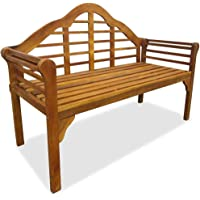 Solid Wood Acacia Wood Garden Bench Weather-Resistant Slatted Design Porch 2 Seater, Outdoor Lounge Chair Seat Terrace…