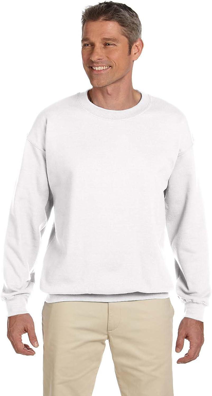 Gildan Men's Heavy Blend Crewneck Waistband Sweatshirt, White, Medium