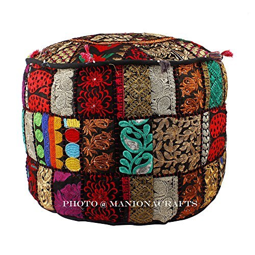 Maniona Crafts Indian Patchwork Pouf Cover Indian Living Room Pouf, Decorative Ottoman,Embroidered Designer Ottoman, Home Living Footstool Chair Cover, Bohemian Ottoman Pouf Decor 14x22 Inch. by Maniona Crafts