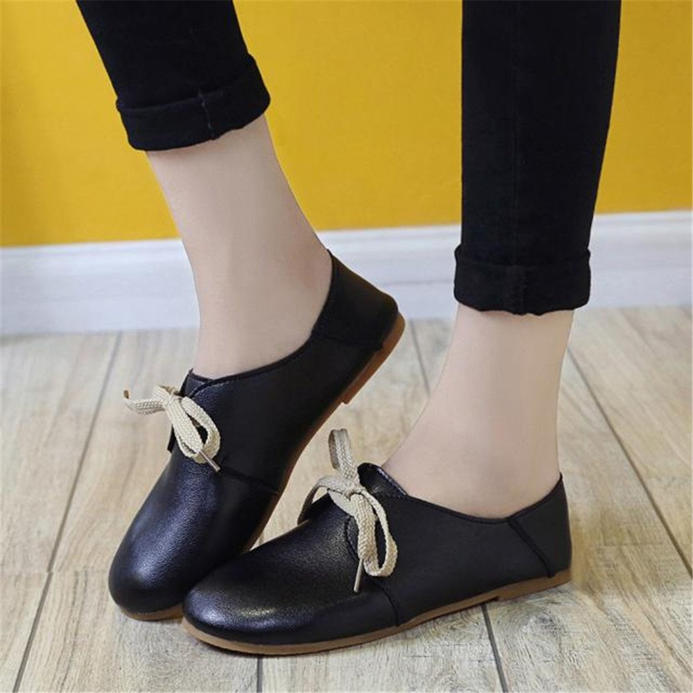 Longra Donne Scarpe comode Luce rotonda Lace Up Granny Flats Shoes (EU Size:35, Nero)