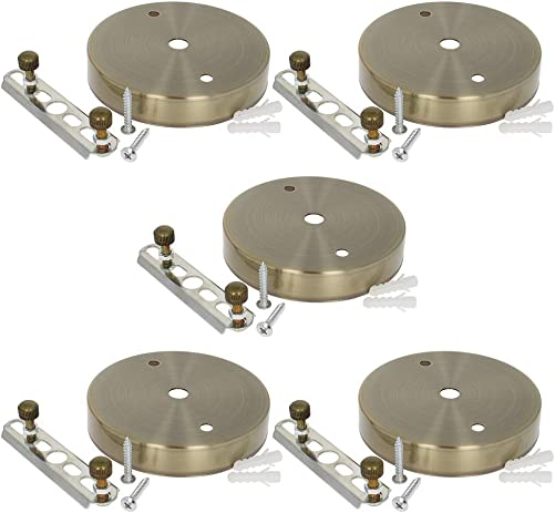 Othmro Ceiling Light Plate Kit Chassis Base Bronze Tone 100mm x 20mm Pendant Accessories for DIY Pendant Lighting 5 Pcs