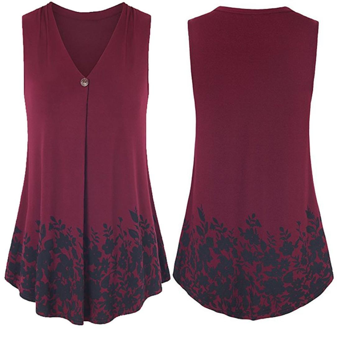 Womens Button Floral Print T-Shirt Sleeveless Ruffle Tops V Neck Swing  Blouse Bafaretk (RED