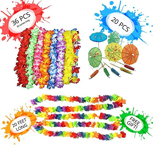 58 Pack Luau Party Supplies Decorations Set|36 Tropical Hawaiian Flower Leis Birthday Party Favors|2x10 Ft Long Tropical Multicolored Garland|20 Cocktail Drink Paper Parasol Umbrellas+FREE eBook