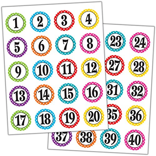 Teacher Created Resources Polka Dot Numbers Stickers - Polka Black Calendar Dots