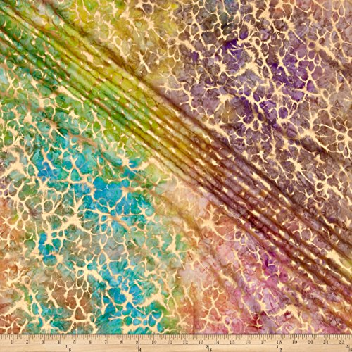 Textile Creations Indian Batik Montego Bay Gold Abstract Bright Multi Metallic Fabric by The Yard, Bright Multicolor