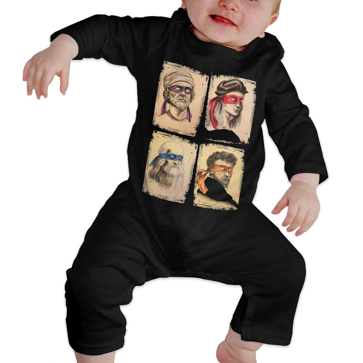 TMNT As Real Masters Science Kids Baby Unisex Cotton Cute Long Sleeve Hooded Romper Jumpsuit Baby Crawler Clothes Black