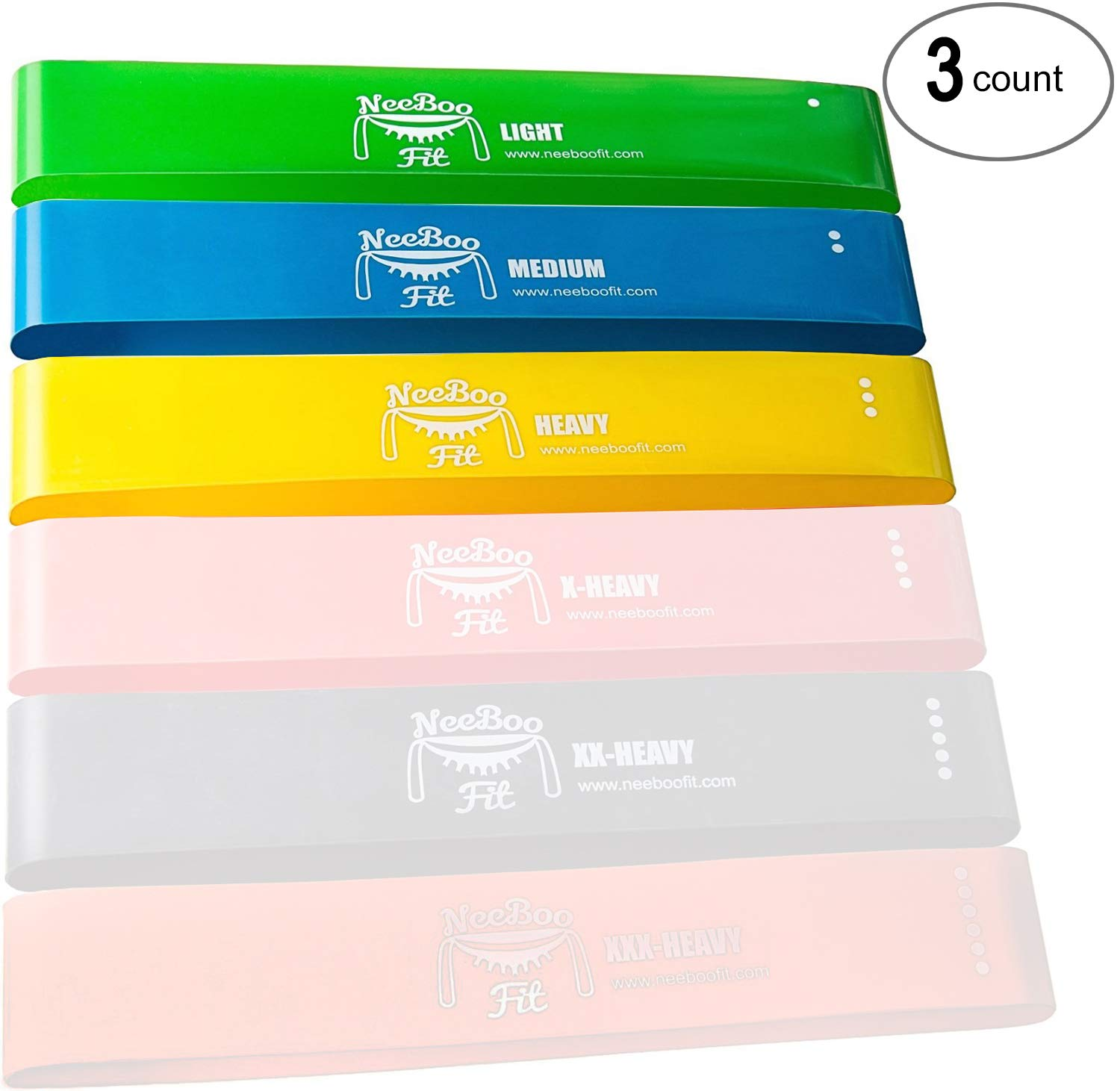 NeeBooFit Resistance Loop Band Set - Best Fitness Exercise Bands for Working Out or Physical Therapy - 12x2 Inches (Lightweight 3 Piece Set)
