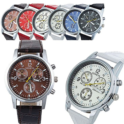 Geneva Men's Leather Quartz watch 6 Pcs Fiiliip(Mixed Color)
