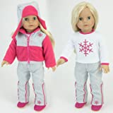 Doll Ski Set Fits American Girl Dolls: 18 Inch Doll Snow Nylon & Polar Fleece 4 Pc. Set by Sophia's, Includes: Snowflake Shirt, Doll Ski Pants, Hat and Fashionable Ski/Snow Board Jacket.