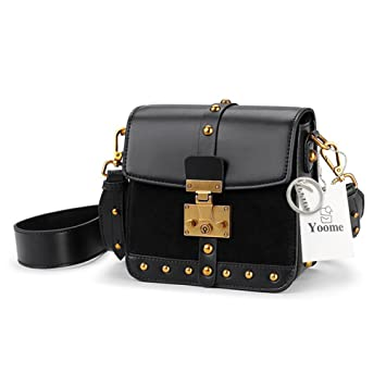 Amazon.com  Yoome Cowhide Leather Rivet Shoulder Box Bags for Women Mini  Vintage Daily Purse Ladies Wallet - Black  yoome 9e5f520818