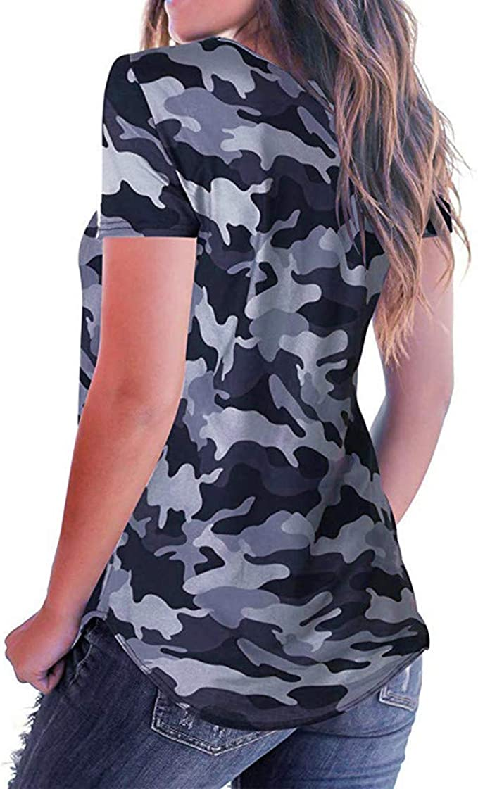Randolly Womens Tops,Ladies Short Sleeve Knot Shirts Front Cross Tunic Loose Blouse Tops