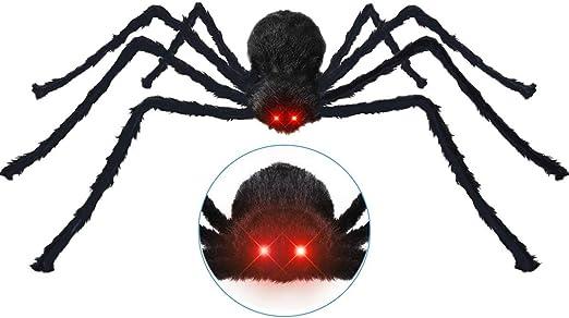 Halloween Dekoration Inkl 125cm Grosser Haariger Spinne Mit Leuchtenden Augen Gruseligen Gerauschen 20 Mini Spinnen Spinngewebe Halloween Horror Deko Garten Draussen Halloween Requisiten Amazon De Kuche Haushalt