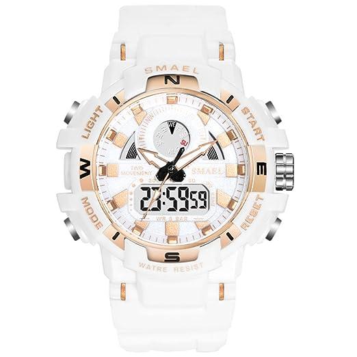 SMAEL - Reloj analógico digital de cuarzo para mujer, correa de goma suave, pantalla de hora dual y retroiluminación EL: Amazon.es: Relojes