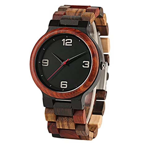 Amazon.com: Handmade Red Maple Wooden Watch Men Minimalism Mix Colorful Wood Band Casual Watches Male Gifts Arrival 3 With Box: Beauty