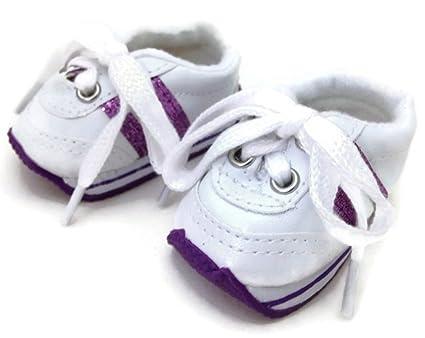 2f8aa8094232 Amazon.com: 18 inch Doll Shoes-White with Purple Stripes Mini Sketz ...