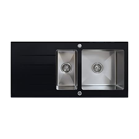 ENKI Black Glass Kitchen Sink 1.5 One Half Bowl Inset Stainless ...