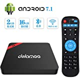 Android TV Box 7.1, Dolamee D3 2GB RAM 16GB ROM Support 3D 4K@60fps Ultra HD H.265 HEVC, WiFi 2.4G Ethernet 100M LAN BT 4.0 Smart Android Box,Amlogic S905W Quad-Core 64Bits Processor Media Player