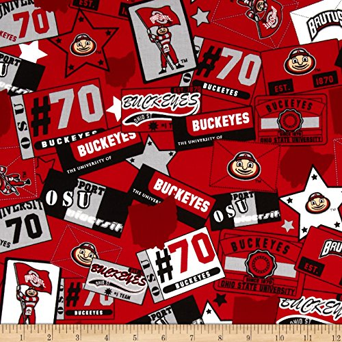 Fabrique Innovations 0398108 Collegiate Cotton Broadcloth Ohio State University Block Print Red Fabric by The ()