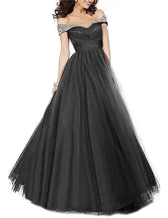 Tsbridal Off The Shoulder Prom Dresses 2018 Tulle Prom DressBlack-US2