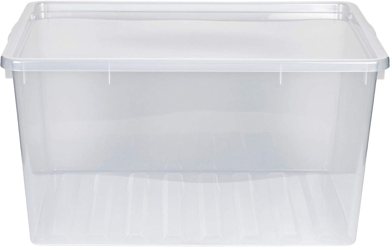 Caja XXL de plástico con tapaConstrucción transparente.Volumen de uso: aprox.130 litros. Dimensiones: 77,8 x 56 x 41 cm.: Amazon.es: Hogar