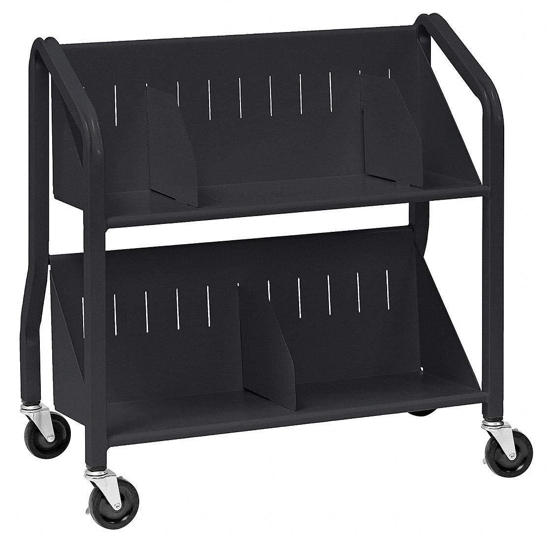 Welded Steel Book Cart with 2 Sloped Shelves, Black