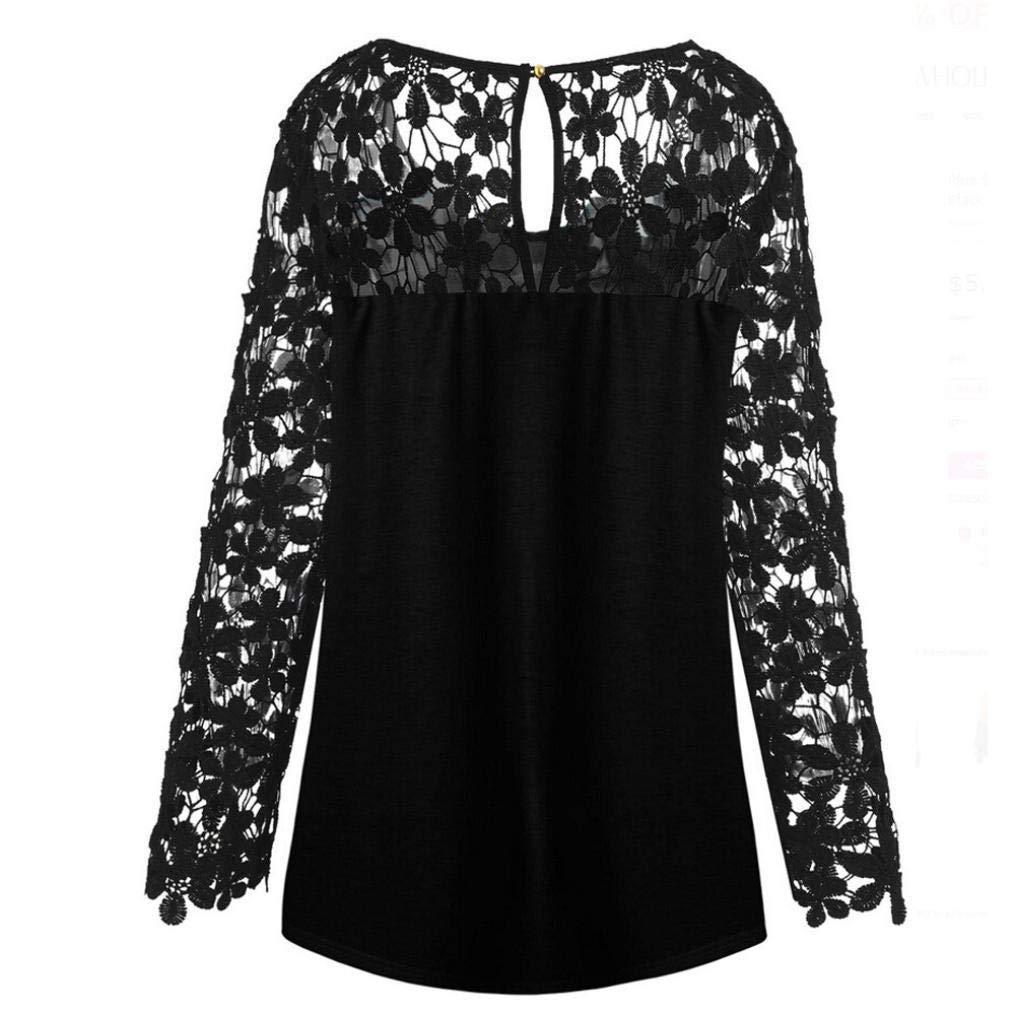 BaZhaHei de Halloween, Blusa Las Mujeres de la Manera del Remiendo del cordón de Halloween asimétrico rematan la Blusa de la Camiseta de Punto de Encaje de ...