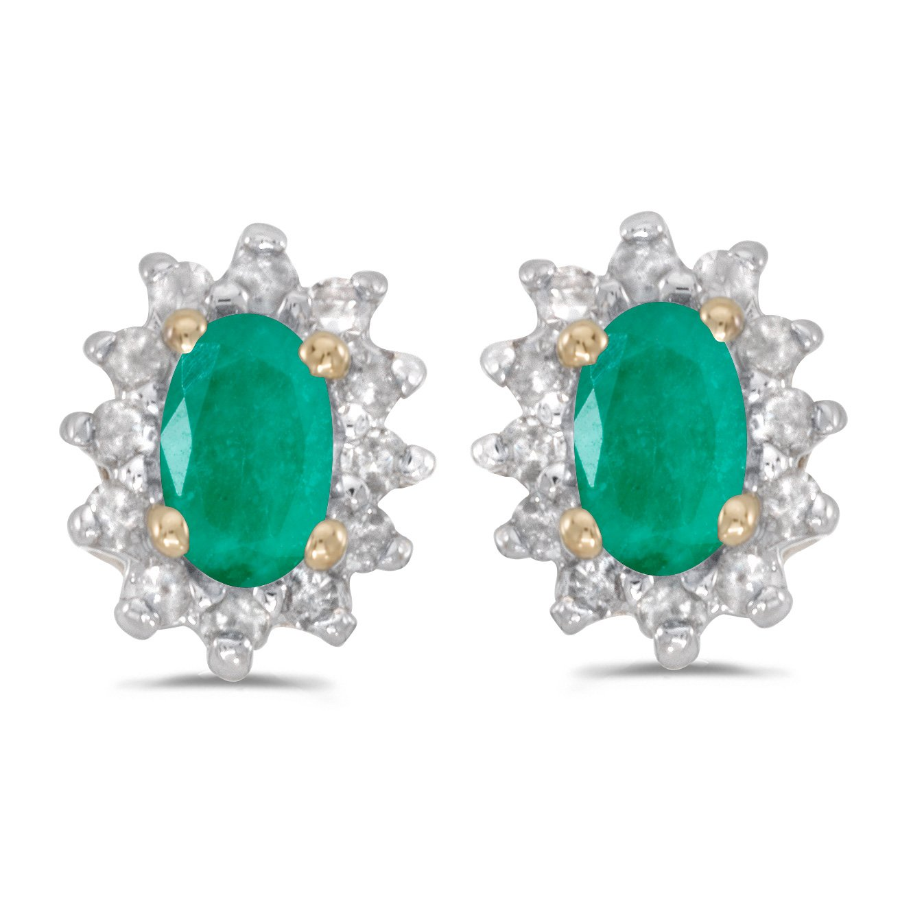 Jewels By Lux 10k Yellow Gold Studs Genuine Green Birthstone Oval Emerald And Diamond Earrings (1/3 Cttw.) by Jewels By Lux (Image #1)