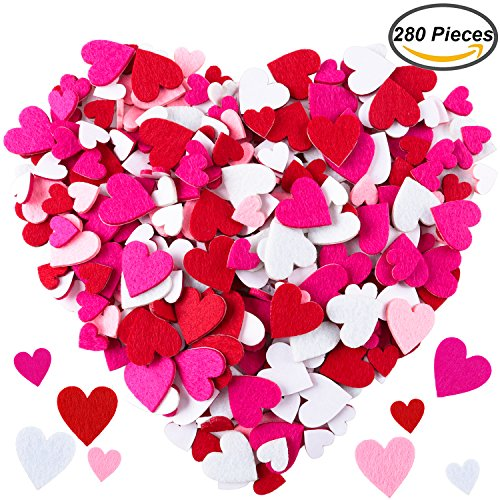 Resinta 280 Pieces Felt Heart Shapes Sticker Felt Self-adhesive Hearts Sticker for Scrapbooking or Embellishment, Assorted Color and Size (Felt Heart Shape)