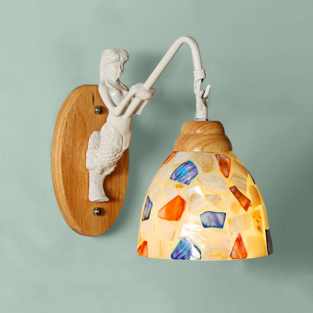 Nordic Cute Princess Children's Room Mermaid Glass Wall Lamp Creative Bedroom Bedside Corridor Wooden Wall Light